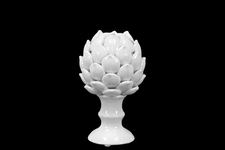 UTC50503 Porcelain Artichoke Figurine on a Pedestal SM Gloss Finish White