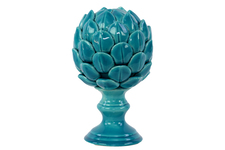 UTC50506 Porcelain Artichoke Figurine on a Pedestal LG Gloss Finish Turquoise