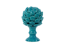 UTC50507 Porcelain Artichoke Figurine on a Pedestal SM Gloss Finish Turquoise