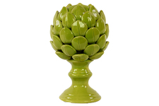 UTC50508 Porcelain Artichoke Figurine on a Pedestal LG Gloss Finish Yellow Green