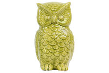 UTC50545 Ceramic Owl Figurine Gloss Finish Yellow Green
