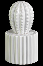 UTC50562 Ceramic Cactus Figurine with Spikes on Round Pot Coated Finish White