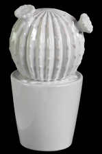 UTC50570 Ceramic Barrel Cactus Figurine with Flowers on Pot LG Coated Finish White
