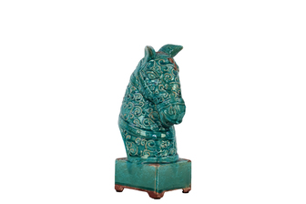 UTC50780 Ceramic Horse Head on a Stand SM Distressed Gloss Finish Turquoise