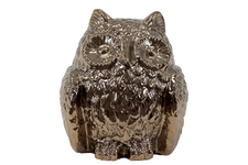 UTC50855 Ceramic Owl Figurine Polished Chrome Finish Gold