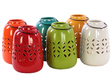 UTC50866-AST Ceramic Tea Light Lantern with Metal Handle Assortment of Six LG Gloss Finish Assorted Color (Yellow Green, Red, Orange, Amber, White and Teal)