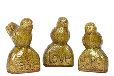 UTC50878-AST Ceramic Bird Figurine on Base Assortment of Three Gloss Finish Mustard