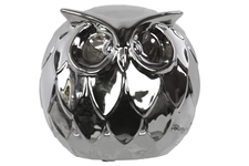 UTC50885 Ceramic Spherical Owl Figurine LG Polished Chrome Finish Silver