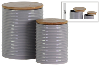 UTC50914 Ceramic Cylinder 62 oz. and 24 oz. Canister with Wood Lid and Ribbed Design Body Set of Two Gloss Finish Gray