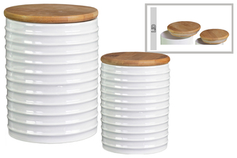 UTC50915 Ceramic Cylinder 62 oz. and 24 oz. Canister with Wood Lid and Ribbed Design Body Set of Two Gloss Finish White