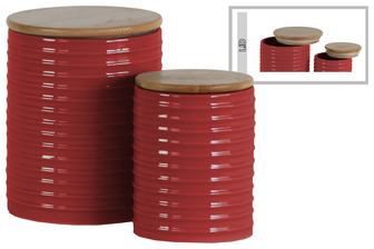 UTC50916 Ceramic Cylinder 62 oz. and 24 oz. Canister with Wood Lid and Ribbed Design Body Set of Two Gloss Finish Red