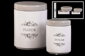 "UTC50917 Ceramic Cylinder Canister with Gray Top, Floral Drawing and ""Sugar""; ""Flour"" Writing Design Body Set of Two Gloss Finish White"