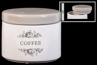 "UTC50918 Ceramic Cylinder Canister with Gray Top, Floral Drawing and ""Coffee"" Writiing Design Body, and Tapered Bottom Gloss Finish White"
