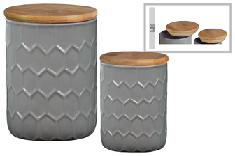 UTC50919 Ceramic Cylinder 56 oz. and 24 oz. Canister with Bamboo Lid and Engraved Honeycomb Design Body Set of Two Gloss Finish Gray