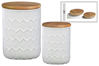 UTC50920 Ceramic Cylinder 56 oz. and 24 oz. Canister with Bamboo Lid and Engraved Honeycomb Design Body Set of Two Gloss Finish White