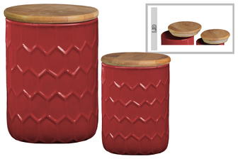 UTC50921 Ceramic Cylinder 56 oz. and 24 oz. Canister with Bamboo Lid and Engraved Honeycomb Design Body Set of Two Gloss Finish Red