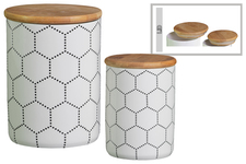 UTC50922 Ceramic Cylinder 56 oz. and 24 oz. Canister with Bamboo Lid and Printed Hexagon Lattice Design Body Set of Two Gloss Finish White