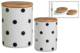 UTC50923 Ceramic Cylinder 56 oz. and 24 oz. Canister with Bamboo Lid and Printed Polka Dot Lattice Design Body Set of Two Gloss Finish White