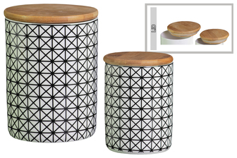 UTC50924 Ceramic Cylinder 56 oz. and 24 oz. Canister with Bamboo Lid and Printed Four Patch Lattice Design Body Set of Two Gloss Finish White