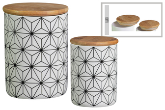 UTC50925 Ceramic Cylinder 56 oz. and 24 oz. Canister with Bamboo Lid and Printed Star Lattice Design Body Set of Two Gloss Finish White