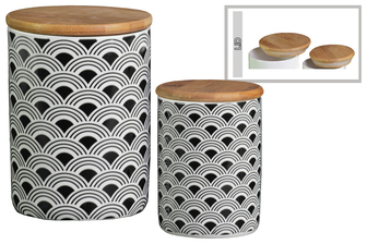 UTC50926 Ceramic Cylinder 56 oz. and 24 oz. Canister with Bamboo Lid and Printed Wave Lattice Design Body Set of Two Gloss Finish White