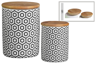 UTC50927 Ceramic Cylinder 56 oz. and 24 oz. Canister with Bamboo Lid and Printed Double Hexagon Lattice Design Body Set of Two Gloss Finish White