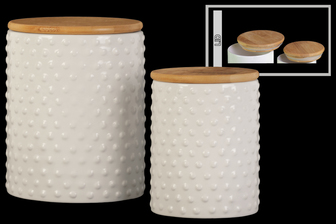 UTC50930 Ceramic Round 62 oz. and 24 oz. Canister with Pimpled Design Body and Bamboo Lid Set of Two Gloss Finish White