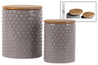 UTC50931 Ceramic Round 62 oz. and 24 oz. Canister with Pimpled Design Body and Bamboo Lid Set of Two Gloss Finish Gray