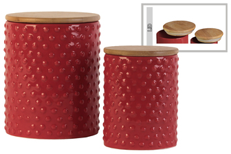 UTC50932 Ceramic Round 62 oz. and 24 oz. Canister with Pimpled Design Body and Bamboo Lid Set of Two Gloss Finish Red