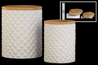 UTC50933 Ceramic Round 62 oz. and 24 oz. Canister with Lattice Diamond Design Body and Bamboo Lid Set of Two Gloss Finish White