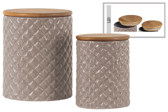 UTC50934 Ceramic Round 62 oz. and 24 oz. Canister with Lattice Diamond Design Body and Bamboo Lid Set of Two Gloss Finish Taupe