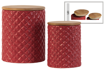 UTC50935 Ceramic Round 62 oz. and 24 oz. Canister with Lattice Diamond Design Body and Bamboo Lid Set of Two Gloss Finish Red