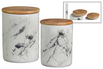 UTC50937 Ceramic Cylindrical 56 oz. and 24 oz. Canister Set of Two Marbleized Finish White