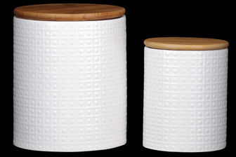 UTC50938 Ceramic Round 62 oz. and 24 oz. Canister with Wooden Lid and Pimpled Pattern Design Body Set of Two Coated Finish White