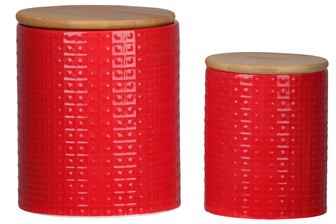 UTC50939 Ceramic Round 62 oz. and 24 oz. Canister with Wooden Lid and Pimpled Pattern Design Body Set of Two Coated Finish Red