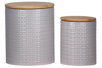UTC50940 Ceramic Round 62 oz. and 24 oz. Canister with Wooden Lid and Pimpled Pattern Design Body Set of Two Coated Finish Gray
