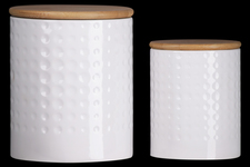 UTC50941 Ceramic Round 62 oz. and 24 oz. Canister with Wooden Lid and Engraved Dotted Pattern Design Body Set of Two Coated Finish White