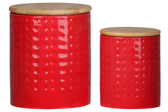 UTC50942 Ceramic Round 62 oz. and 24 oz. Canister with Wooden Lid and Engraved Dotted Pattern Design Body Set of Two Coated Finish Red