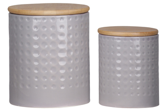UTC50943 Ceramic Round 62 oz. and 24 oz. Canister with Wooden Lid and Engraved Dotted Pattern Design Body Set of Two Coated Finish Gray