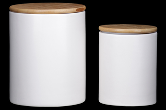 UTC50944 Ceramic Round 62 oz. and 24 oz. Canister with Wooden Lid and Smooth Design Body Set of Two Coated Finish White