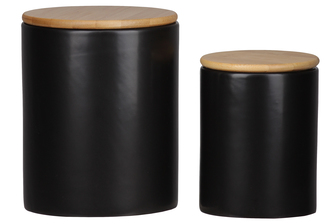 UTC50945 Ceramic Round 62 oz. and 24 oz. Canister with Wooden Lid and Smooth Design Body Set of Two Coated Finish Black