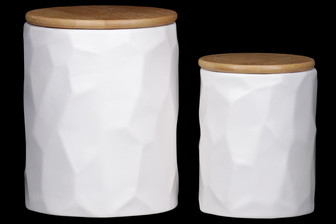UTC50946 Ceramic Round 62 oz. and 24 oz. Canister with Wooden Lid and Hammered Design Body Set of Two Coated Finish White