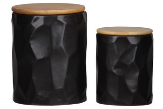 UTC50947 Ceramic Round 62 oz. and 24 oz. Canister with Wooden Lid and Hammered Design Body Set of Two Coated Finish Black