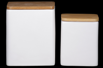 UTC50948 Ceramic Square Canister with Wooden Lid and Smooth Design Body Set of Two Coated Finish White