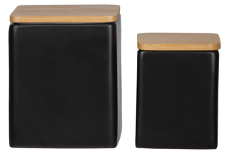 UTC50949 Ceramic Square Canister with Wooden Lid and Smooth Design Body Set of Two Coated Finish Black