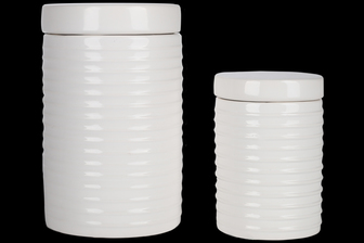 UTC50950 Ceramic Round Canister with Lid and Ribbed Design Body Set of Two 70 oz & 24 oz Gloss Finish White