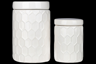 UTC50951 Ceramic Round Canister with Lid and Engraved Honeycomb Design Body Set of Two 70 oz & 24 oz Gloss Finish White