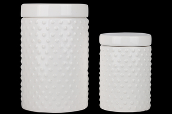 UTC50952 Ceramic Round Canister with Lid and Pimpled Design Body Set of Two 70 oz & 24 oz Gloss Finish White