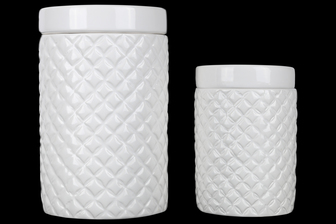 UTC50953 Ceramic Round 36 oz. and 28 oz. Canister with Lattice Diamond Design Body and Ceramic Lid Set of Two Gloss Finish White