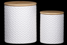 UTC50954 Ceramic Round Canister with Wooden Lid and Pressed Dotted Design Body Set of Two Coated Finish White